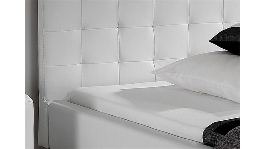 Polsterbett MOGY Bett weiß Lederlook und Chrom 140x200 cm