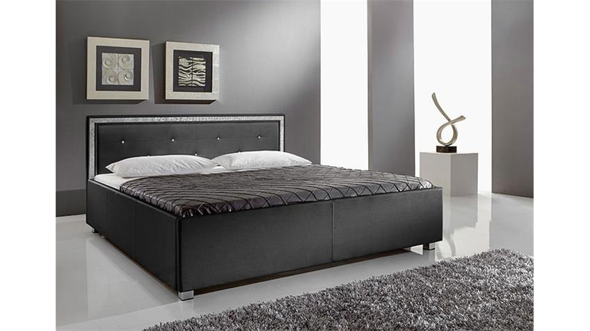 myla polsterbett schwarz mit strass 140x200 cm. Black Bedroom Furniture Sets. Home Design Ideas