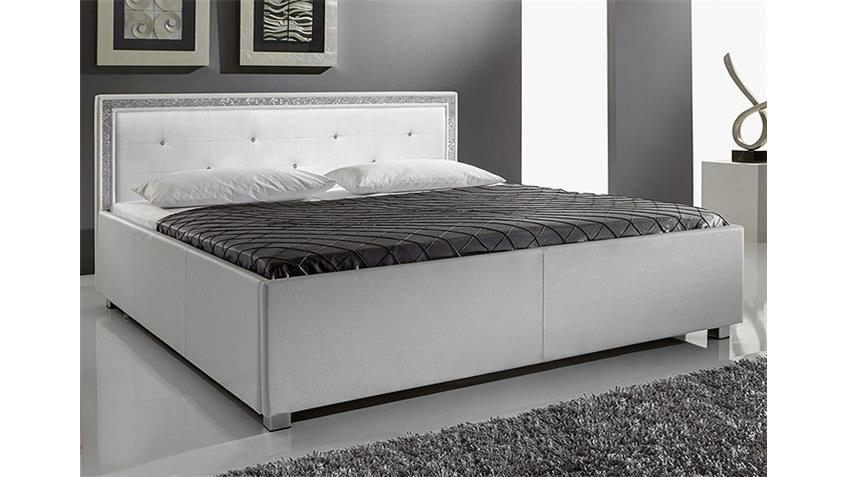 MYLA Polsterbett, Weiß mit Strass - 140x200 cm