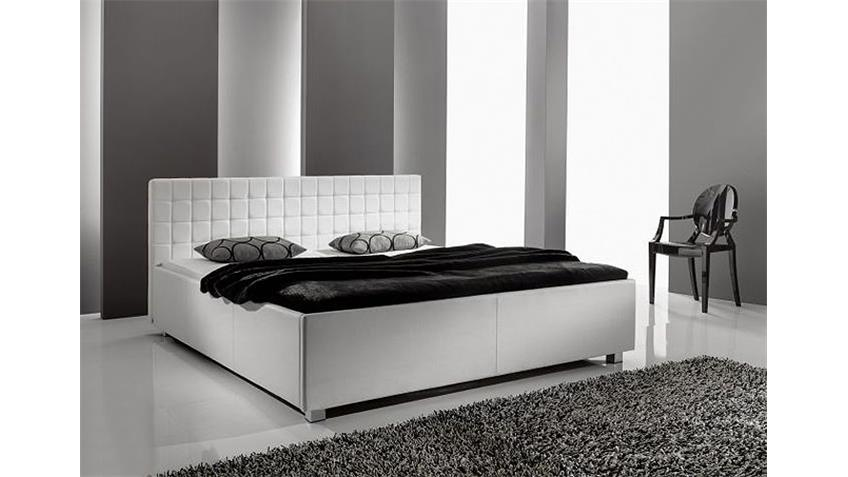 polsterbett myla iii bett in wei em lederlook 180x200 cm. Black Bedroom Furniture Sets. Home Design Ideas