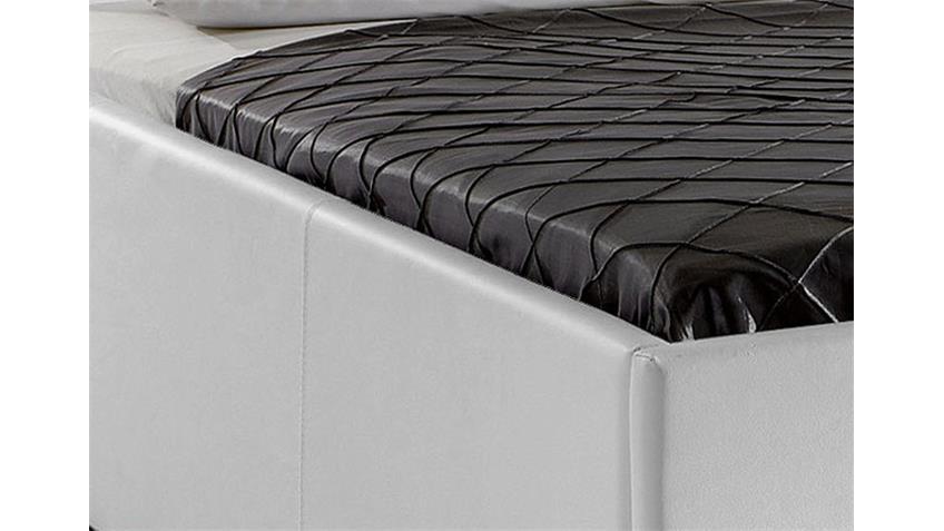 Polsterbett MYLA III Bett in weißem Lederlook 140x200 cm