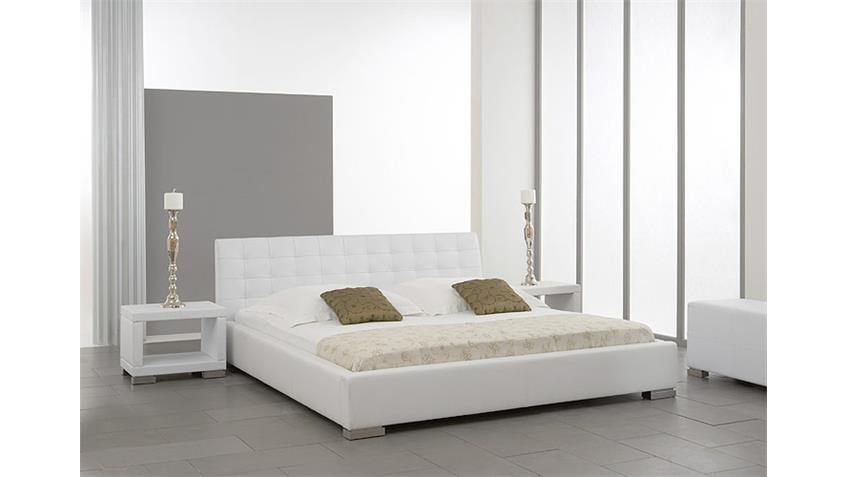 polsterbett sabi bett doppelbett in wei lederlook 140x200. Black Bedroom Furniture Sets. Home Design Ideas
