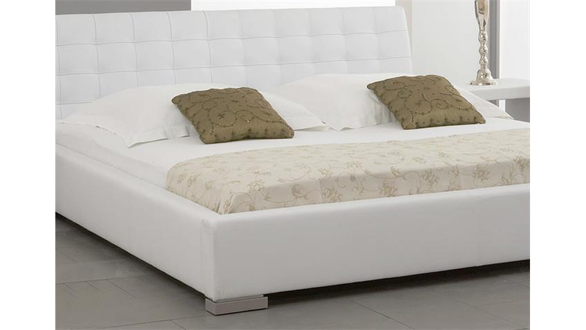 Polsterbett SABI Bett Doppelbett weiß Lederlook 180x200 cm