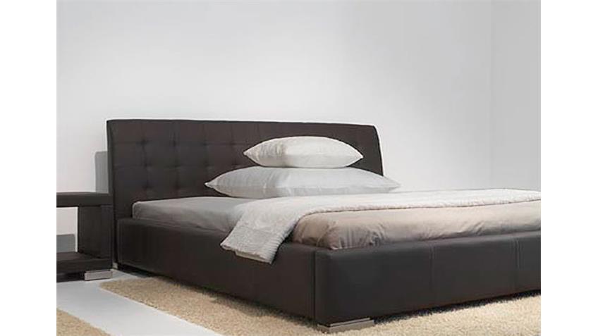 Polsterbett SABI Doppelbett in braun Lederlook 180x200 cm