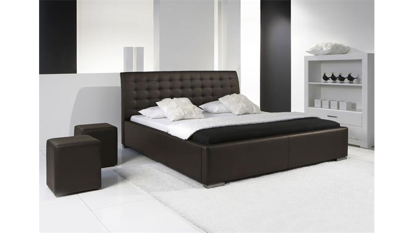 Polsterbett SABI II Bett in braun Lederlook 180x200 cm