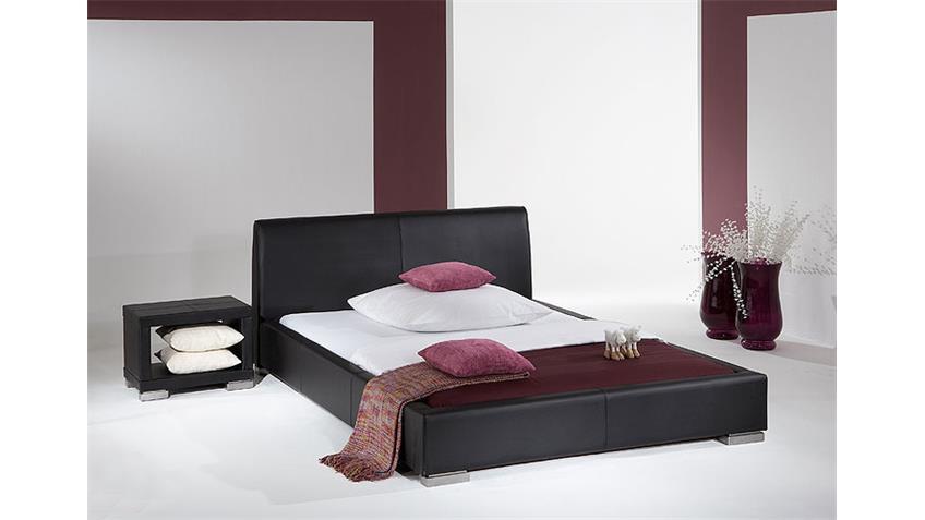 Polsterbett DELGADO Doppelbett in Schwarz 140x200 cm