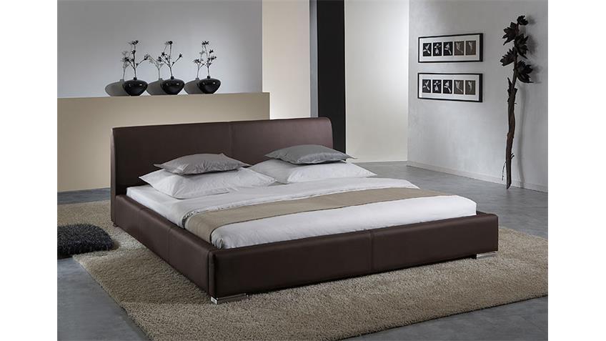 Polsterbett DELGADO Doppelbett Bett in braun 140x200 cm
