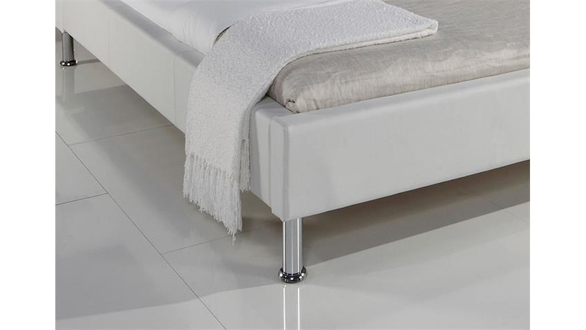 MANELLI Designer Polsterbett Weiß 140 x 200