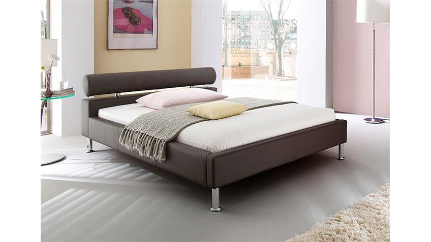 MANELLI Designer Polsterbett Braun 140 x 200