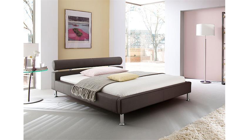 Polsterbett Manelli Designer Bett in Braun 180x200 cm