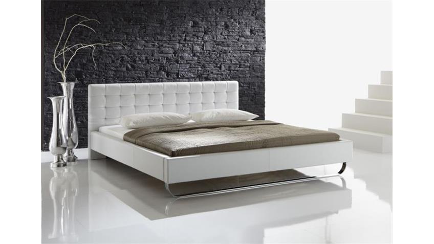 Polsterbett PASADENA Doppelbett in weiß Lederlook 180x200