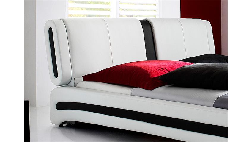 MALIBU Polsterbett Weiß/Schwarz mit Kopfteil 180 x 200