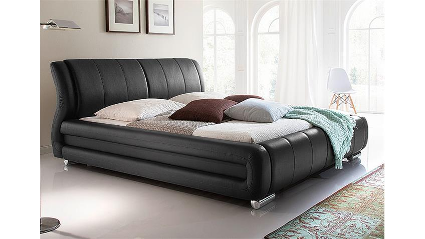 Polsterbett BOLZANO in schwarz Doppelbett 180x200 cm