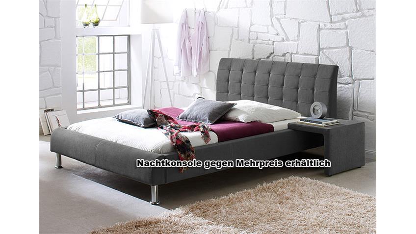 Bett CLIP Stoff Polsterbett in anthrazit 160x200 cm