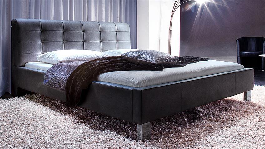 Polsterbett DETROIT in schwarz mit Kopfteil 180x200 cm