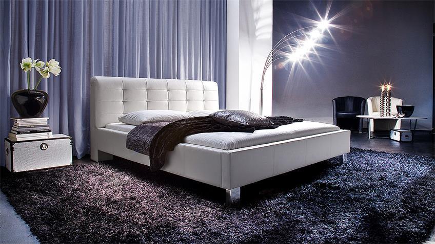 Polsterbett DETROIT in weiß mit Kopfteil 180x200 cm
