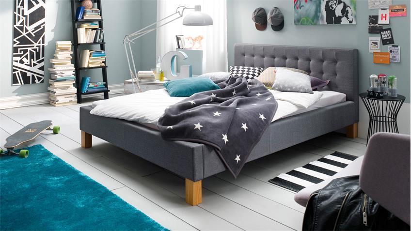 Bett YESA Jugendzimmerbett Doppelbett Stoff in grau 140x200 cm