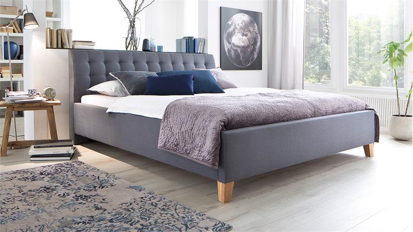Bett LUCA Jugendzimmerbett Doppelbett Stoff in grau 140x200 cm