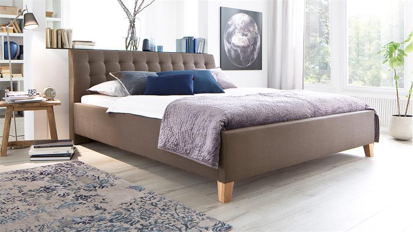 Bett LUCA Jugendzimmerbett Doppelbett Stoff in braun 140x200 cm