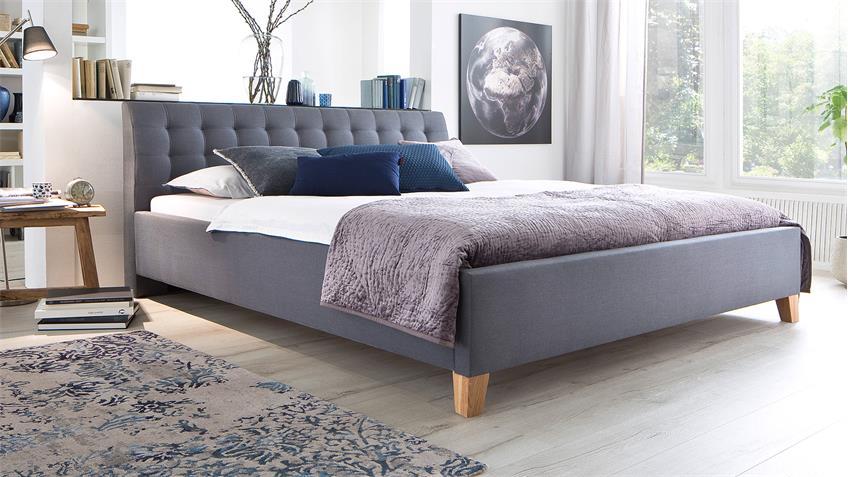 Bett LUCA Jugendzimmerbett Doppelbett Stoff in grau 180x200 cm
