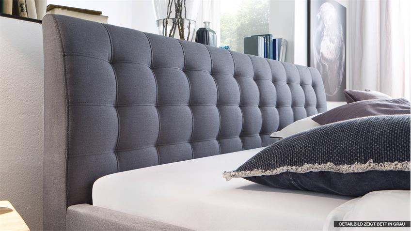 Bett LUCA Jugendzimmerbett Doppelbett Stoff in braun 180x200 cm