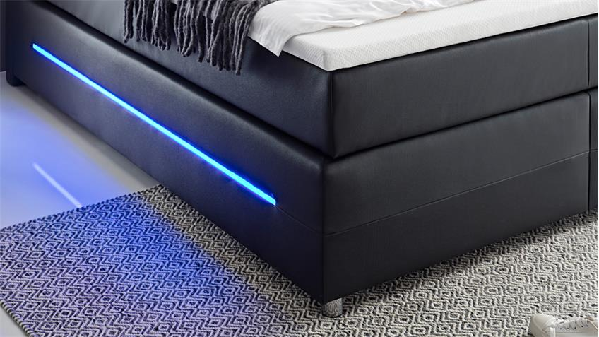 Boxspringbett LIGHTS in schwarz mit Bonell-Federkern inkl. LED 180x200