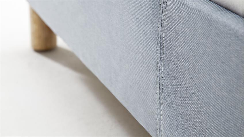 Polsterbett BELLI Stoff eisblau 140x200 cm mit Kopfteil