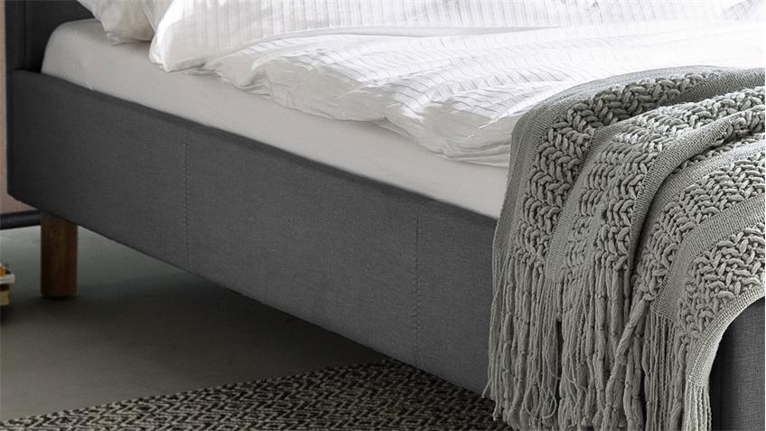 Polsterbett Belli Bett mit Kopfteil Stoff hellgrau 140x200 cm