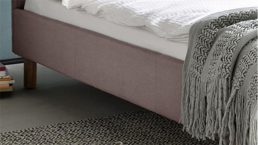 Polsterbett Belli Bett mit Kopfteil Stoff rosa 120x200 cm