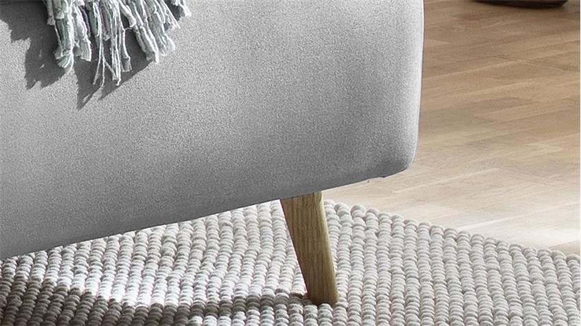 Polsterbett MAREEN Stoff hellgrau mit Kopfteil 140x200 cm