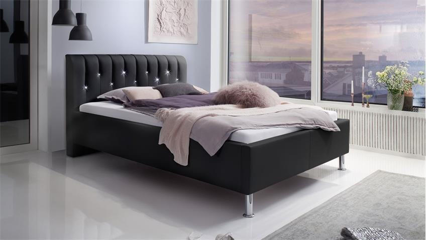 Polsterbett RAPIDO schwarz 140x200 Kopfteil mit Swarovski®-Kristallen
