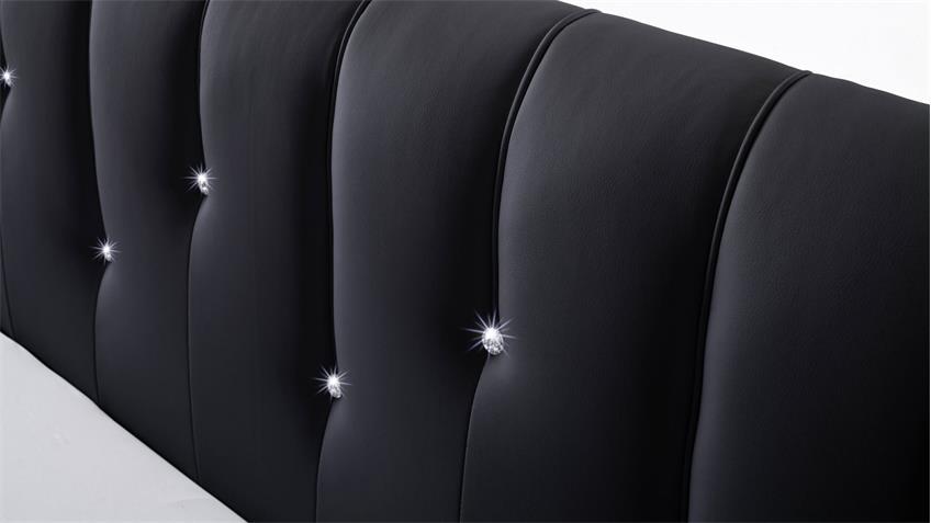 Polsterbett RAPIDO schwarz 180x200 Kopfteil mit Swarovski®-Kristallen