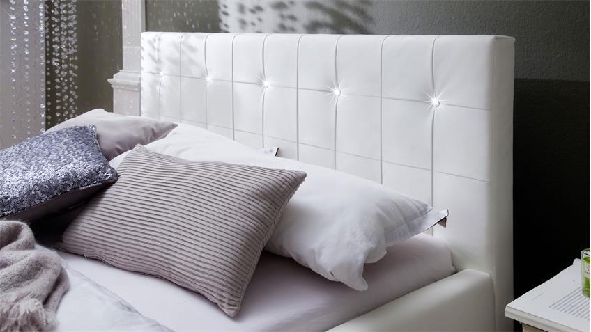 Polsterbett CRISTALLO weiß mit Swarovski®-Kristallen 140x200 cm