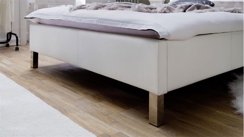 Polsterbett CRISTALLO weiß mit Swarovski®-Kristallen 160x200 cm