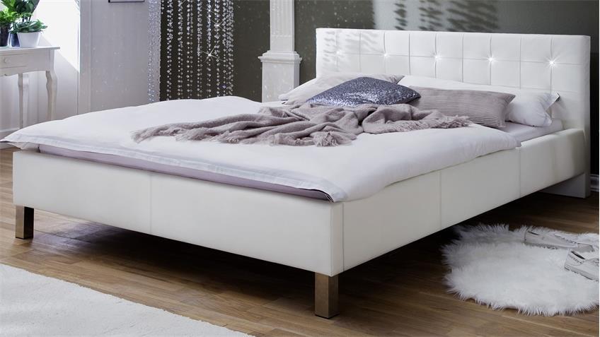 Polsterbett CRISTALLO weiß mit Swarovski®-Kristallen 180x200 cm