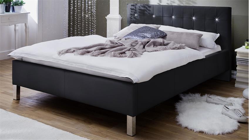 Polsterbett CRISTALLO schwarz mit Swarovski®-Kristallen 140x200 cm