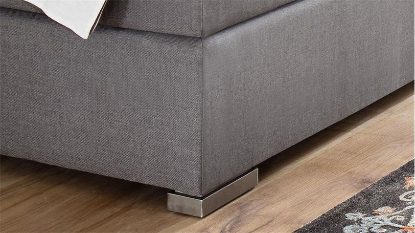 Boxspringbett LENNO Stoff grau mit Kopfteil 180x200 cm