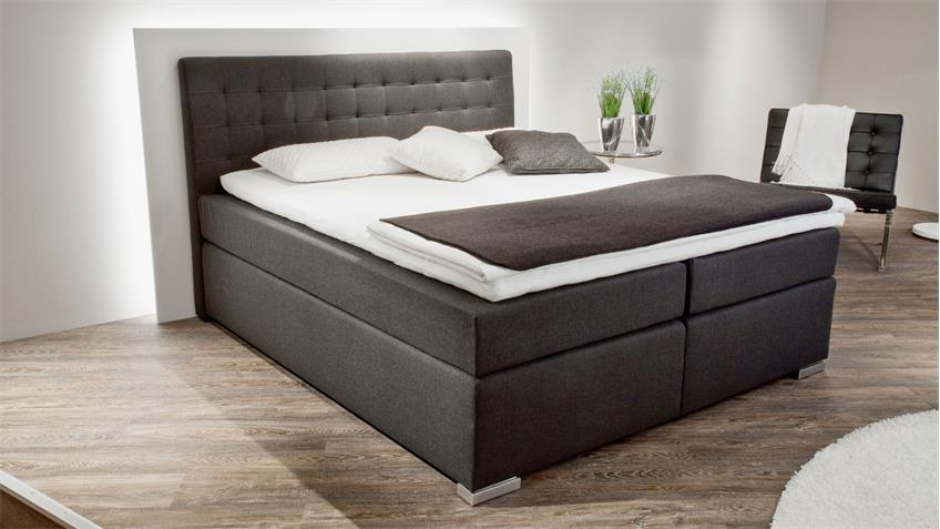 Boxspringbett LENNO Stoff anthrazit mit Bettkasten 180x200 cm