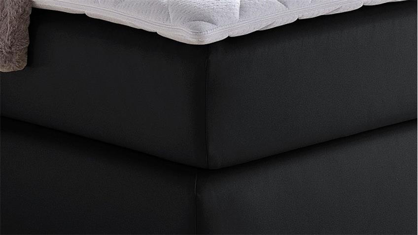 Boxspringbett ISA schwarz inkl. Kopfteil und Topper 180x200