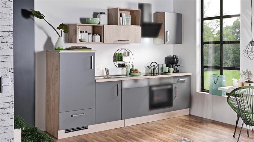 Küchenzeile MILA Front Lacklaminat Schiefer Korpus Asteiche