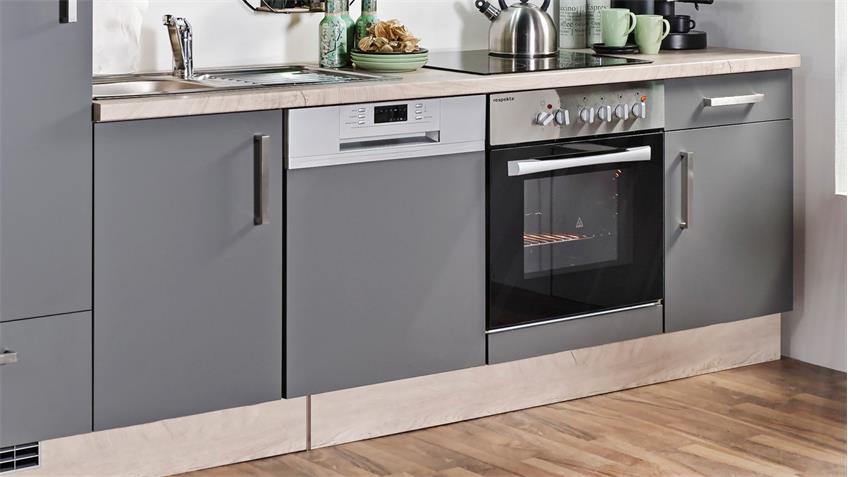 Küchenzeile MILA mit E-Geräten Front Lacklaminat Schiefer