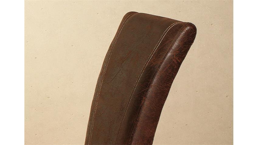 Stuhl LORD 6er Set antik braun und Eiche massiv