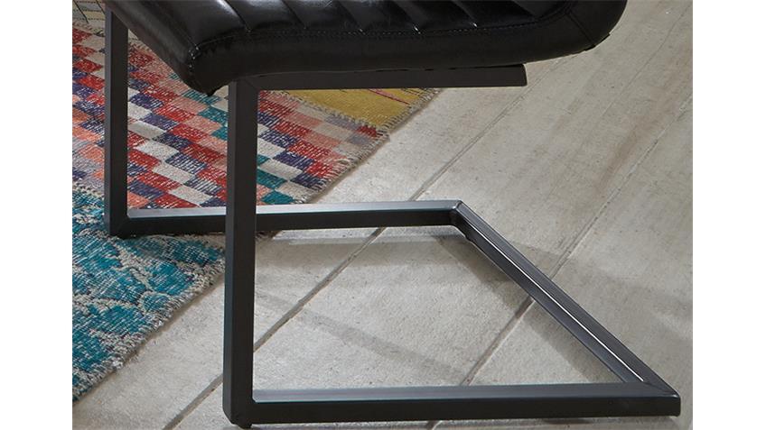 Schwingstuhl PERCY 4er Set Glanz schwarz und Eisen grau