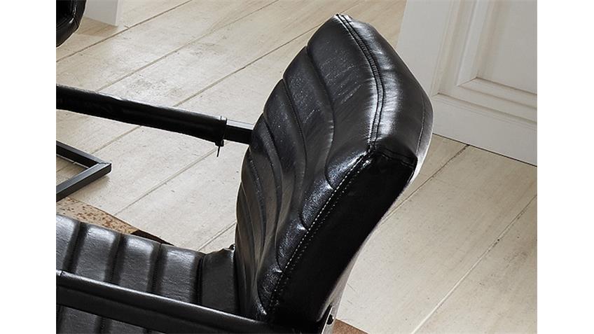 Stuhl PARZIVAL 4er Set Glanz schwarz Eisen grau Armlehne