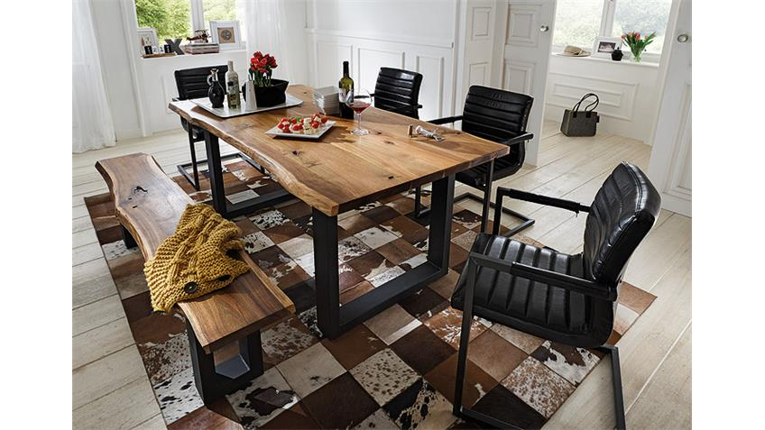 Stuhl PARZIVAL 6er Set Glanz schwarz Eisen grau Armlehne