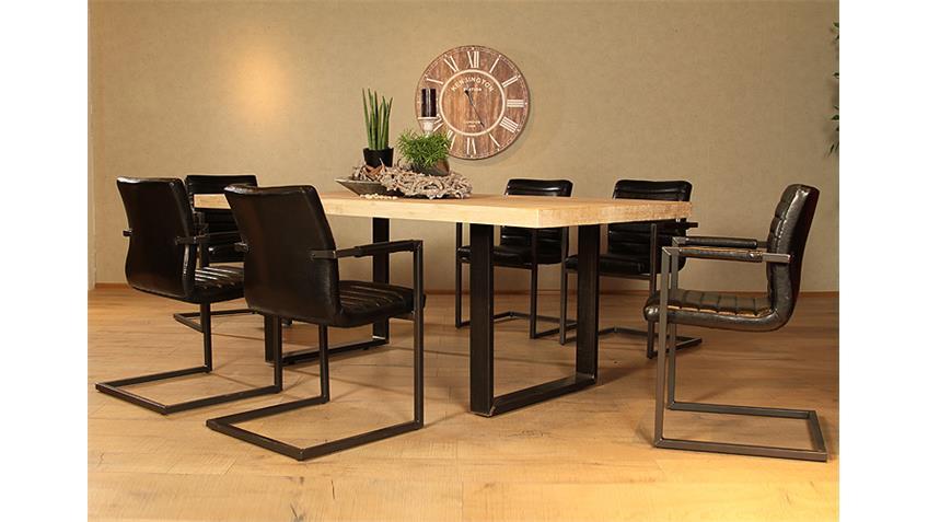 Tischgruppe MANHATTAN PARZIVAL Akazie schwarz 5 teilig