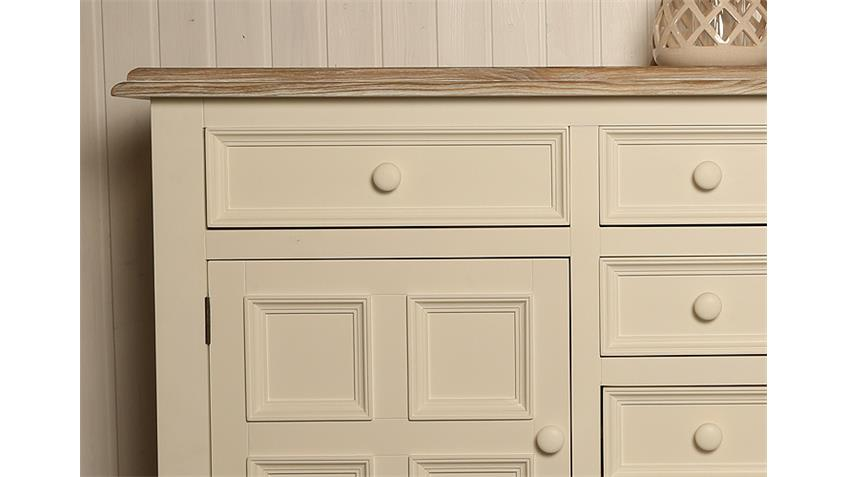 Sideboard NEW ENGLAND Pinie massiv weiß lackiert und natur