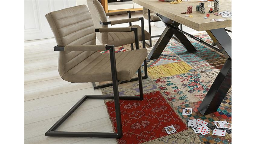 Stuhl PARZIVAL 4er Set silver Eisen grau Armlehne