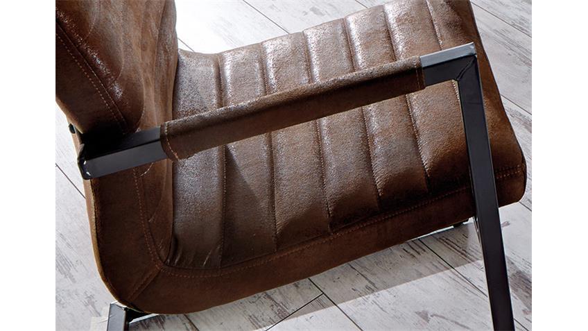 Stuhl PARZIVAL 6er Set antik braun Eisen grau Armlehne