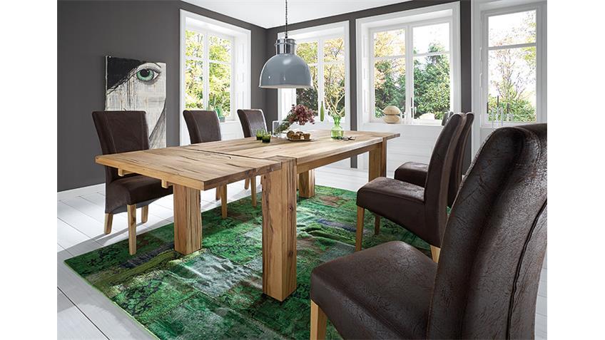Tischgruppe BIG BRAXTON LORD Eiche massiv 6 Stühle antik